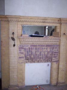 2007 mahogany parlor fire place
